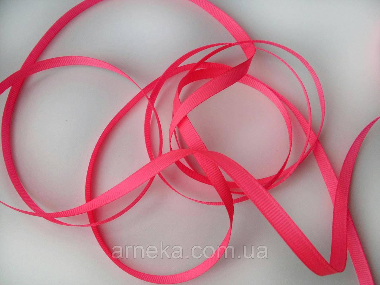 Лента репсовая 0,6 см ярко розовая
