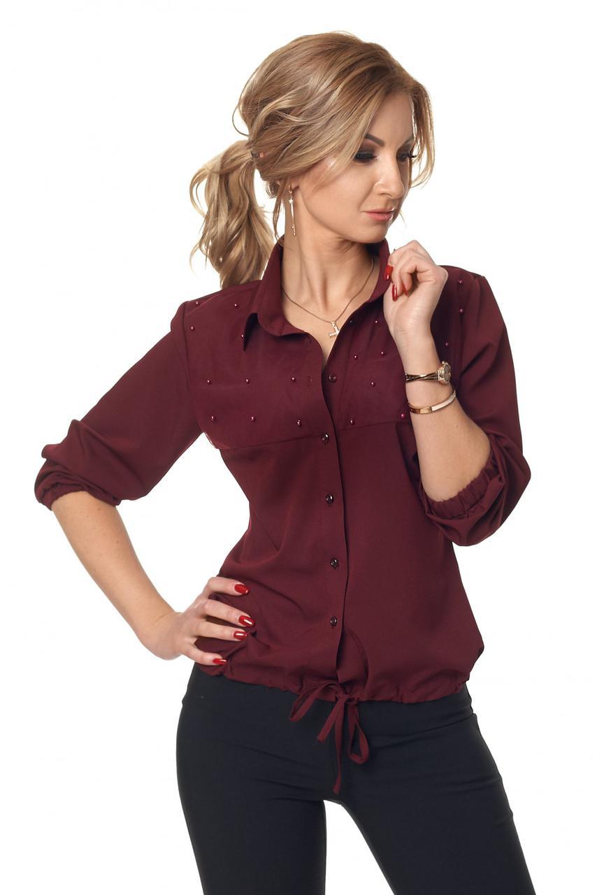 Рубашка с жемчугом цвета марсала 424
