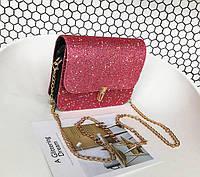 Блестящая модная женская сумка клатч на цепочке с блестками Кожаный выходной аксессуар Код: КГ5920, фото 1