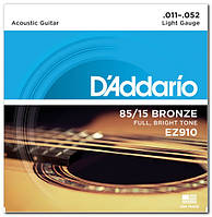 Струни для акустичної гітари d'addario EZ910 BRONZE LIGHT 11-52