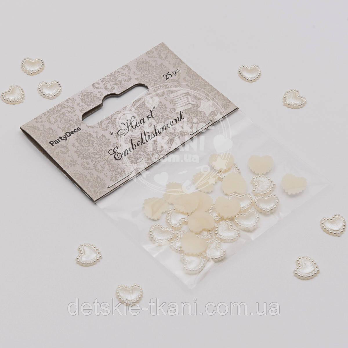 """Набор декора для рукоделия """"Перламутровые сердечки"""" размером 1 см (упаковка 25 шт)"""