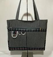 Практичная милая тканевая сумка шоппер в клетку Мягкая вместительная Качественный дизайн Код: КГ5921, фото 1