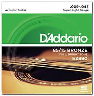 Струни для акустичної гітари D`ADDARIO EZ890 BRONZE SUPER LIGHT 9-45 (бронза)