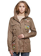 Парка осенняя женская куртка демисезонная, бежевая 50