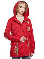 Красная парка осенняя женская куртка демисезонная 44