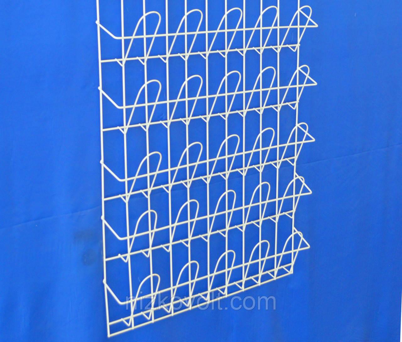 Торговая полка стеллаж для полиграфии  навесная корзиночная 5 рядов по 5 ячеек