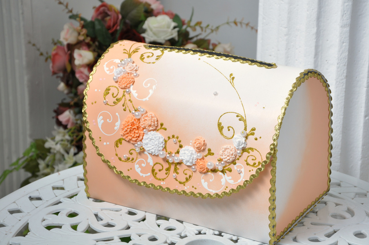 Сундучок свадебный для денег Bonita персиковый