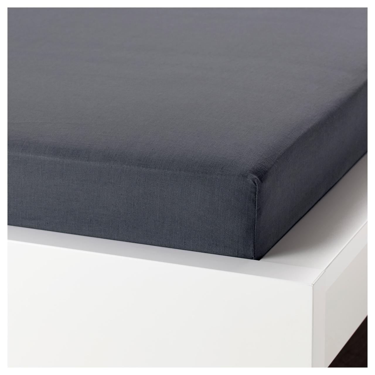 Простыня на резинке IKEA PUDERVIVA 160х200 см темно-серая 704.120.74