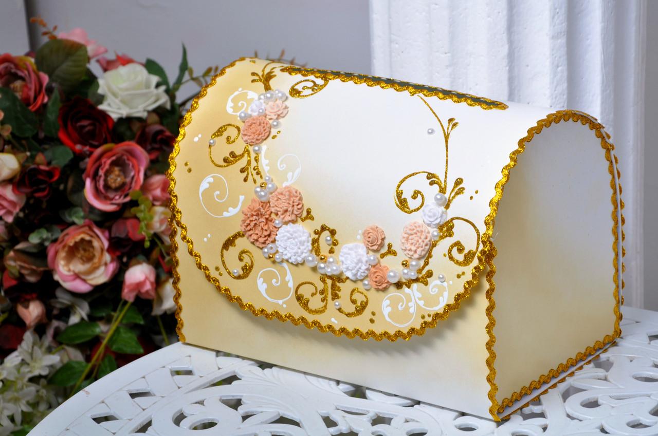 Сундучок свадебный для денег Bonita золотой