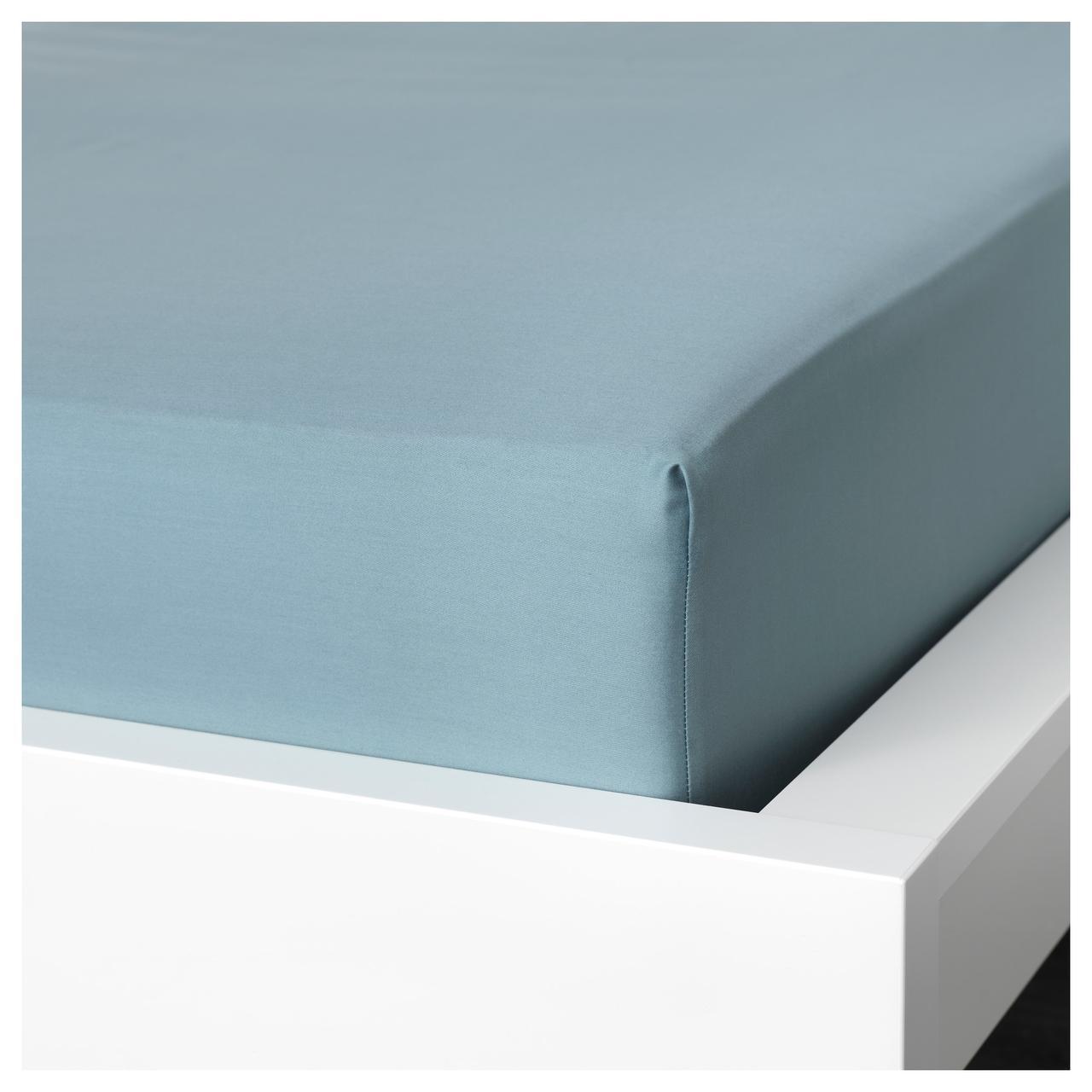 Простыня на резинке IKEA NATTJASMIN 140х200 см голубая 403.370.00