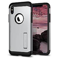 Чехол Spigen для iPhone XS/X Slim Armor, Satin Silver (063CS24521)