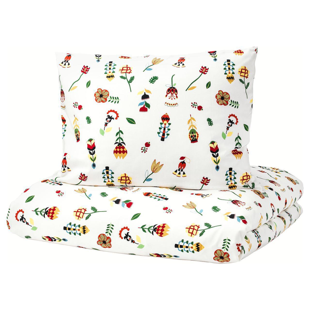 Комплект постельного белья IKEA ROSENFIBBLA 150х200 см цветочный узор 403.302.87