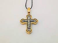 Серебряный крест Распятие Христа с позолотой. Артикул 3465-ЗЧ, фото 1