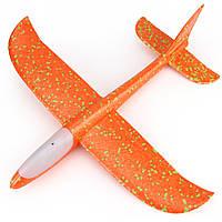 Детский самолет, метательный планер (68791), пенопластовый, активация кнопкой, цвет - оранжевый