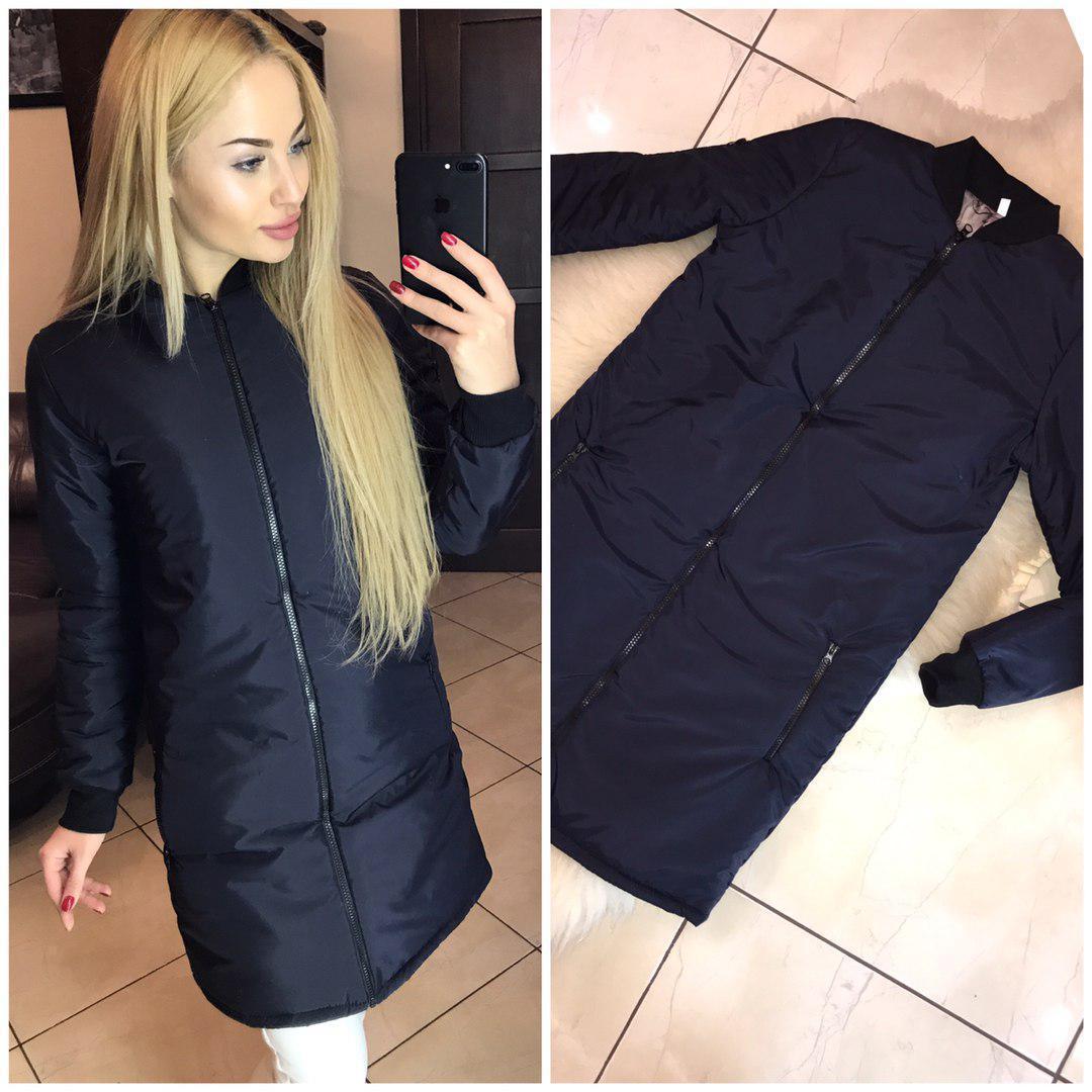 b1fc9769622 Демисезонная удлиненная женская куртка на синтепоне (42
