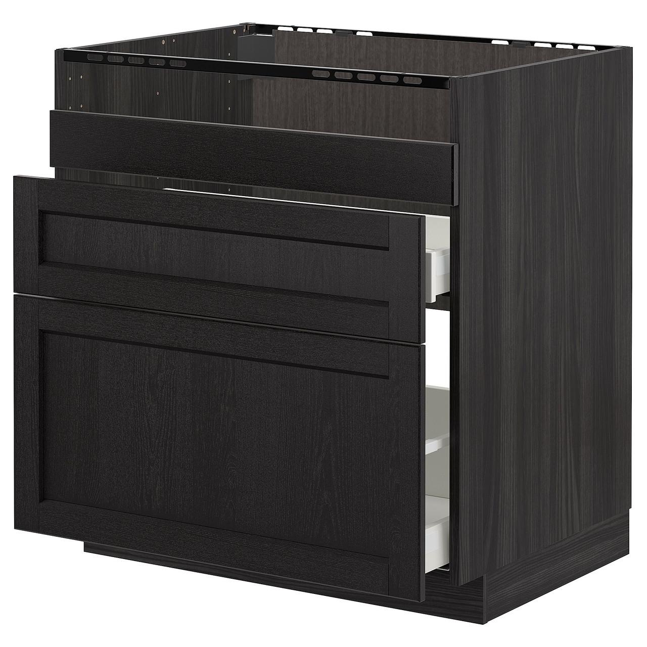 Тумба под раковину IKEA METOD HAVSEN Lerhyttan черная 392.805.18