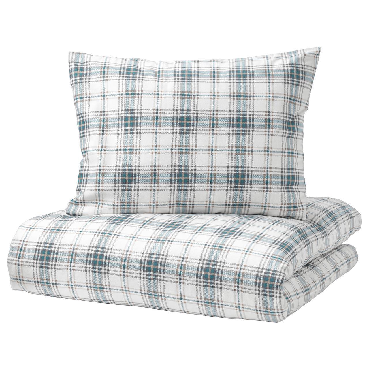 Комплект постельного белья IKEA NORDRUTA 200х200 см белый синий 803.798.61