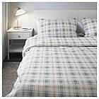 Комплект постельного белья IKEA NORDRUTA 200х200 см белый синий 803.798.61, фото 5