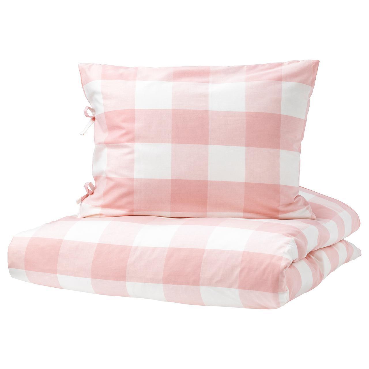 Комплект постельного белья IKEA EMMIE RUTA 150х200 см светло-розовый белый 203.800.80