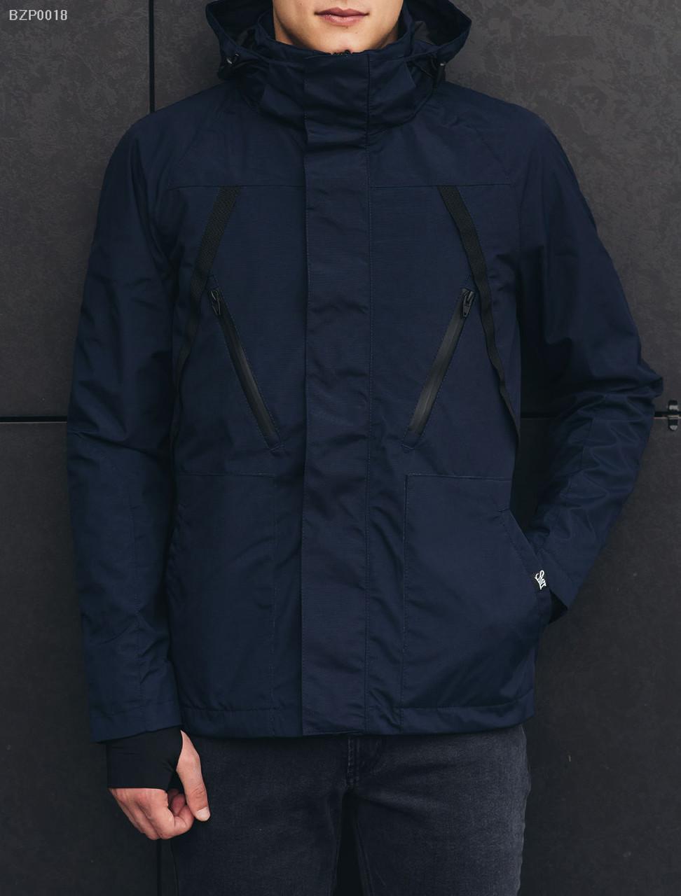 Куртка мужская весна осень Staff shott navy синяя демисезонная  непромокаемая с капюшоном (весенняя 49716dca57746