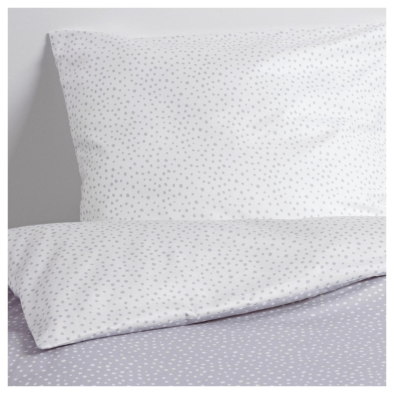 Комплект постельного белья IKEA VENUSSKO 160х200 см серый белый 904.277.86