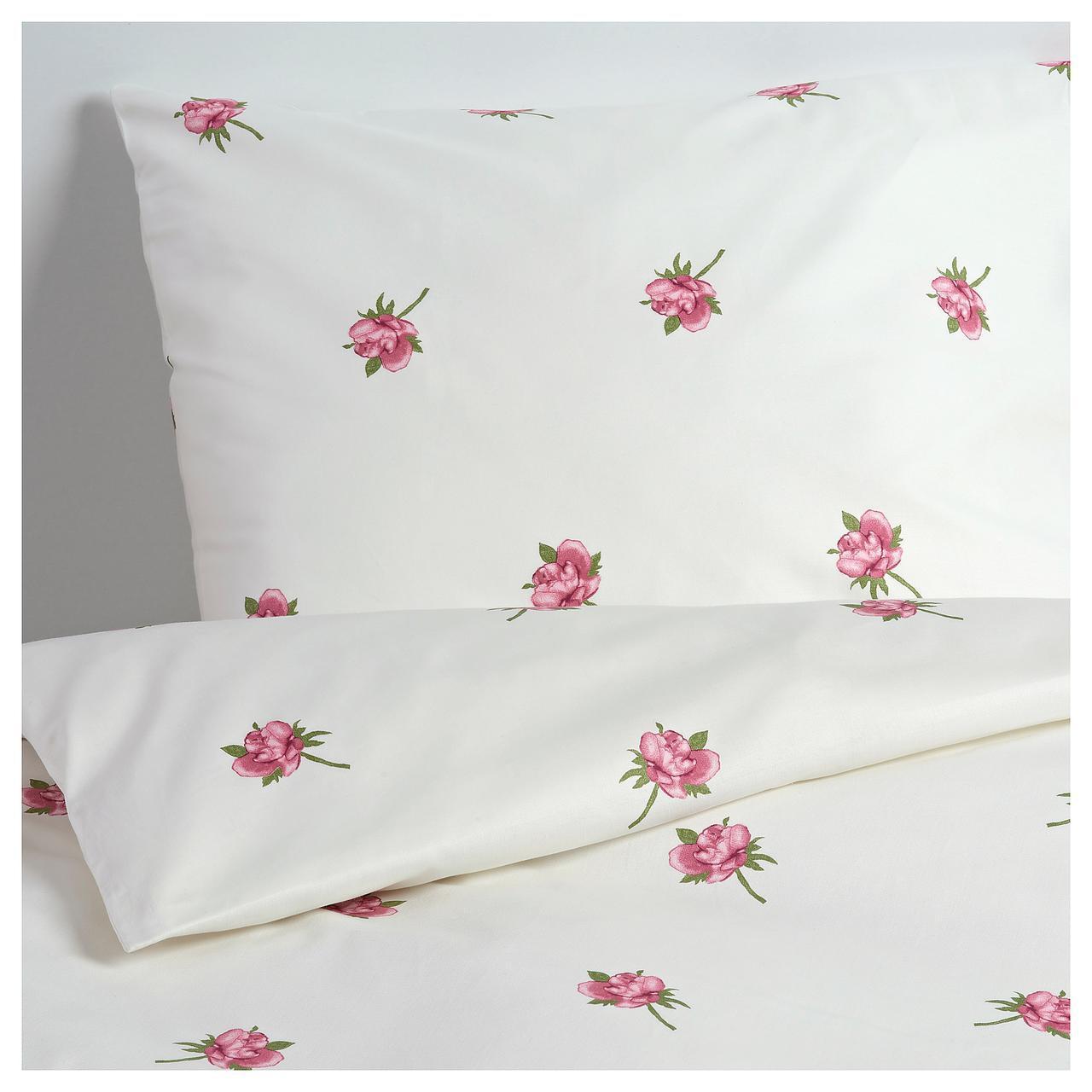 Комплект постельного белья IKEA VITYXNE 150х200 см белый с цветочным узором 704.237.08