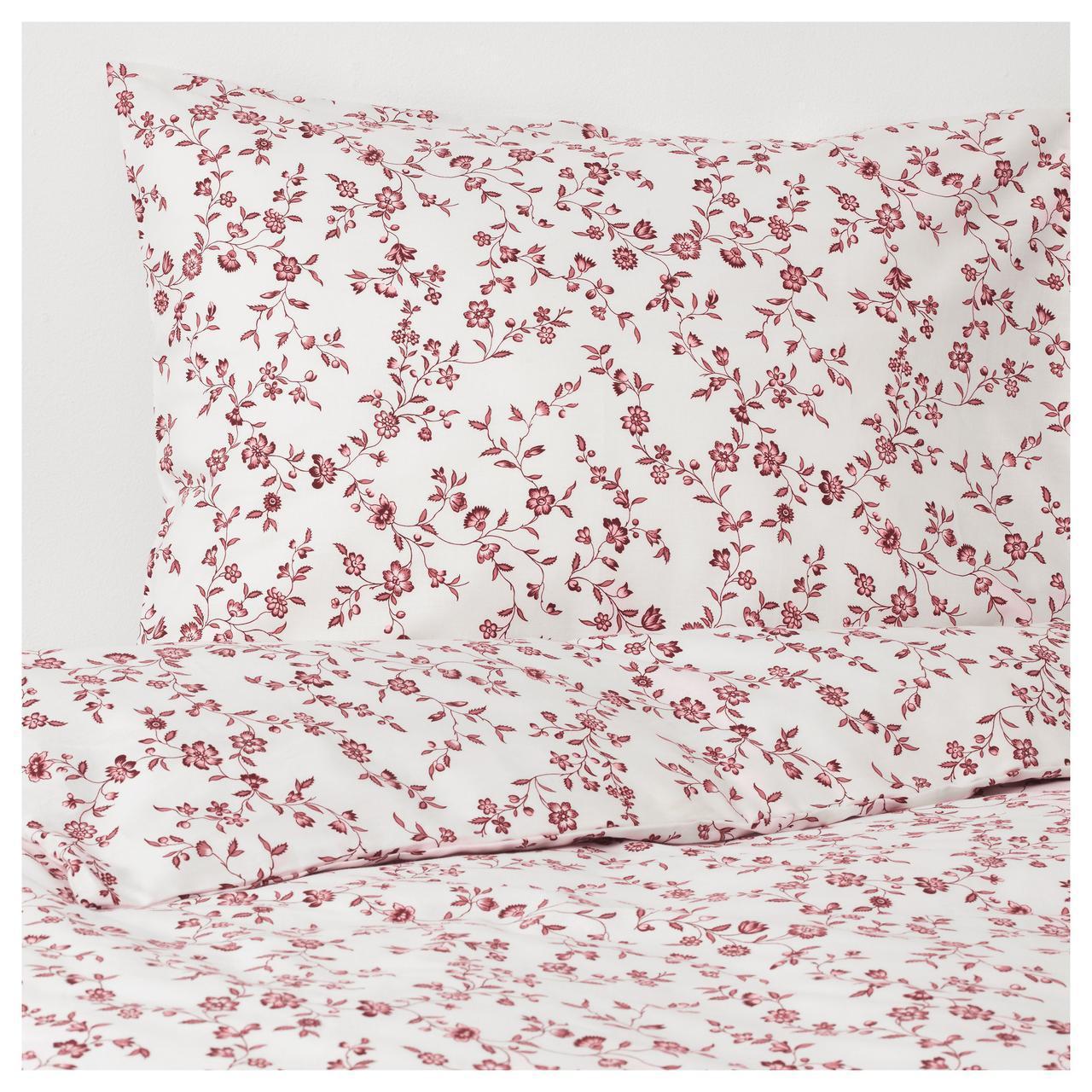 Комплект постельного белья IKEA HÄSSLEKLOCKA 150х200 см розовый с цветочным узором 403.902.95