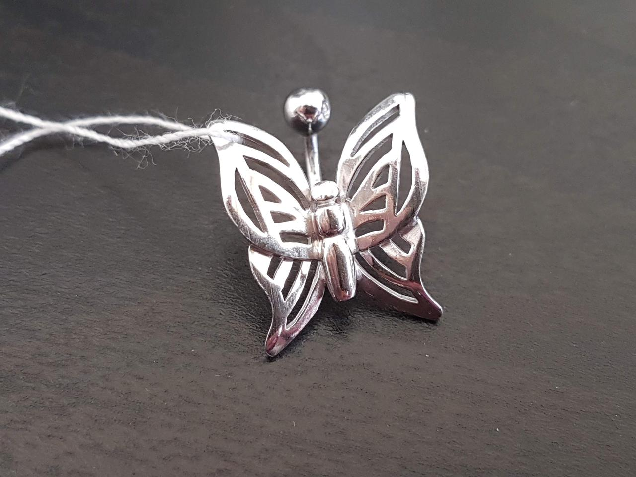 Серебряная серьга для пирсинга пупка. Артикул 7769-Р