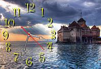 """Часы-картина 30х45 см """"Замок"""" лучший подарок"""