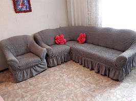 Чехол на угловой диван с креслом с рюшами (оборкой)