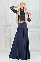 Женский костюм юбка в пол и гипюровый топ