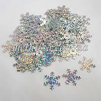 Пайетки Снежинки, 1,8 см, цвет серебро голограмма (5 гр)