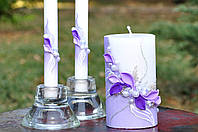 Набор свадебных свечей Bispol 3 шт фиолетовый (С-600)