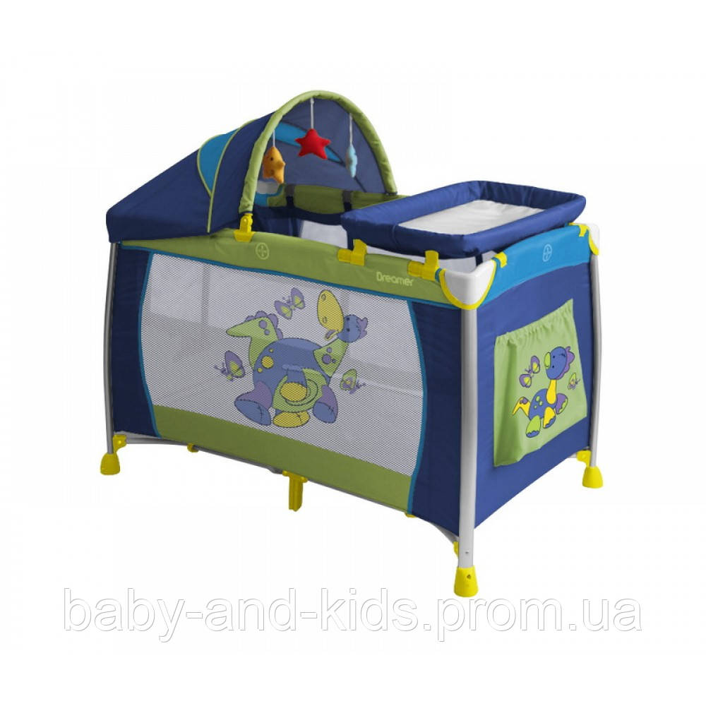 Манеж Bertoni Lorelli DREAMER 2 Layers Plus dinos blue 15244 - Baby&Kids (ФОП Горбецька В.О.) в Киеве