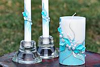 Набор свадебных свечей Bispol 3 шт бирюзовый (С-600)