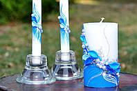 Набор свадебных свечей Bispol 3 шт синий (С-600)
