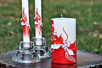 Набор свадебных свечей Bispol 3 шт красный (С-600)