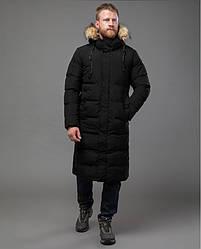 Длиная зимная куртка / пуховик мужская с мехом Tiger Force чорная утепленная  розмір 46 48 50 52