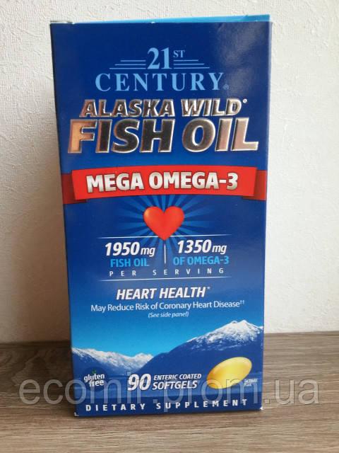Омега-3 Рыбий жир (Аляска), 21st Century (320EPA/130DHA, 90 капсул)
