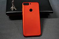 Чехол бампер силиконовый Huawei Y7 Prime 2018 (LDN-L21) Хуавей (Rock) цвет красный Soft-touch