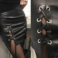 Модная юбка из эко-кожи со шнуровкой. Тренд сезона.