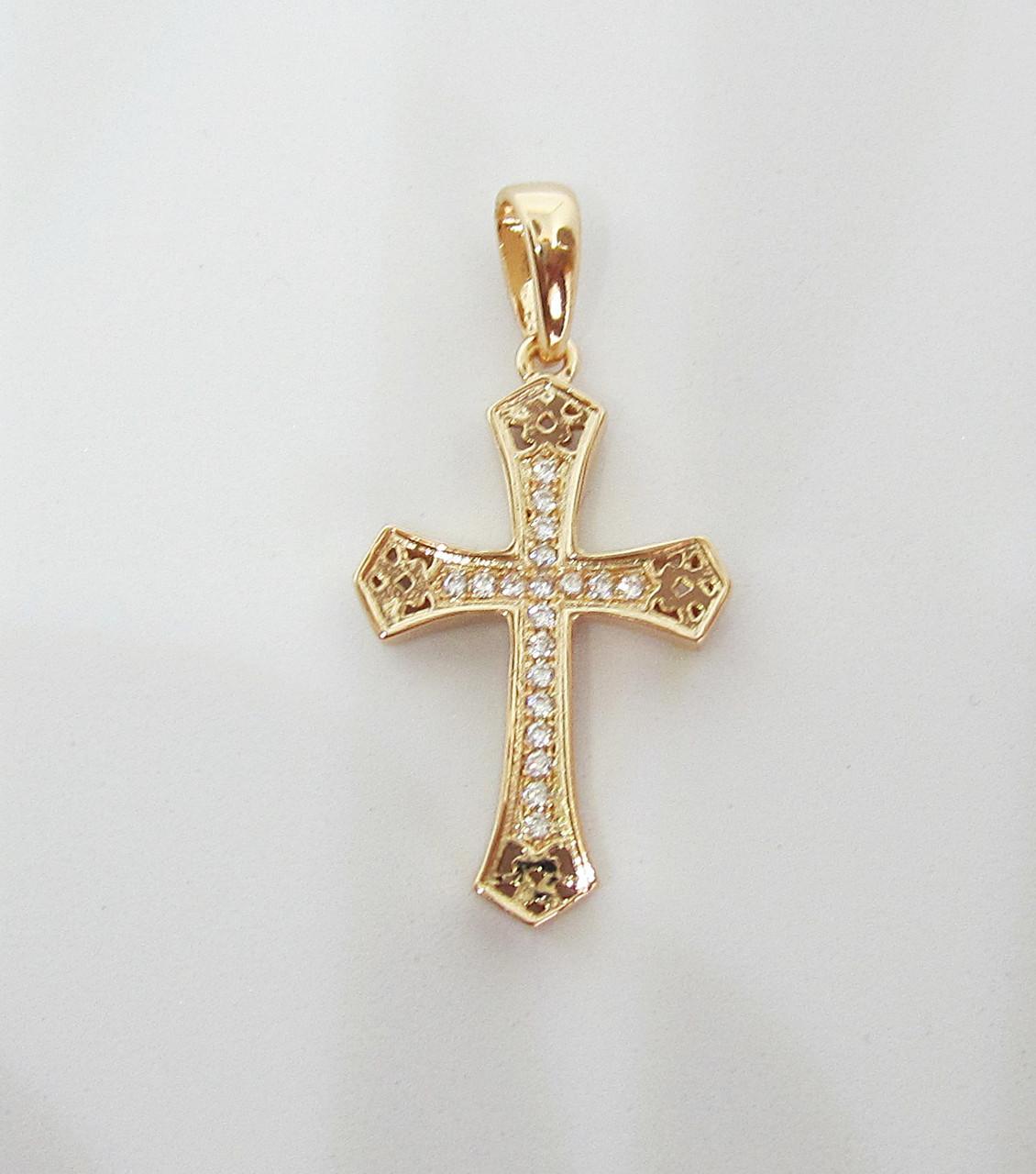 Крест с камнями 25-16 мм, позолота 18К Fallon