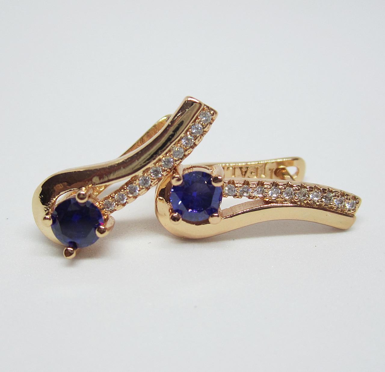 Сережки Ліра з фіолетовими камінням висота 20 мм ширина 7 мм