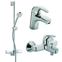 Комплект смесителей 3 в 1 для умывальника, ванны и душевая стойка Oras Polara 1496