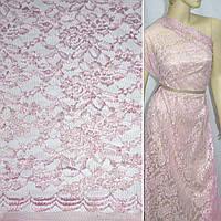 Гипюр розовый в цветы