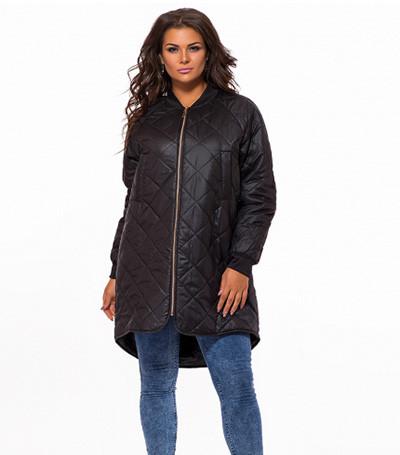 Черная стеганая куртка большого размера 823520
