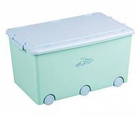 Ящик для игрушек Tega Kroliczki KR-010  бирюзовый с голубой крышкой