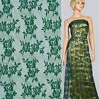 Кружевное полотно стрейч мелкие розочки зеленое темное, ш.145