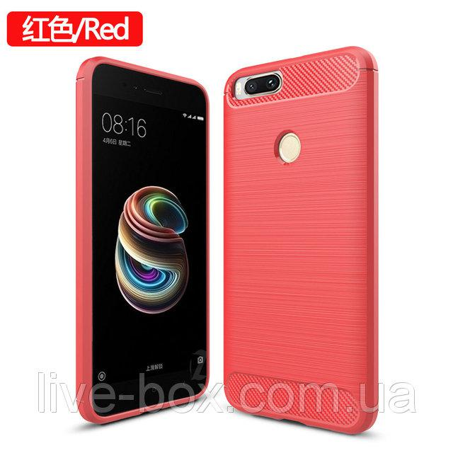 Чехол бампер Carbon Fiber TPU для Xiaomi Redmi 4X / 4X Pro / Только красный /