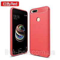 Чехол бампер Carbon Fiber TPU для Xiaomi Redmi 4X / 4X Pro / Только красный /, фото 1